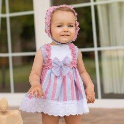 Dolce Petit Baby Girls White Blue Pink Stripes Dress Bonnet Panty Set 84e8cae7b
