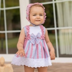 Dolce Petit Baby Girls White Blue Pink Stripes Dress Bonnet Panty Set
