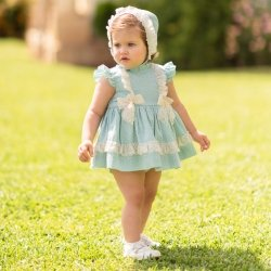 Dolce Petit Baby Girls Aqua Green Blue Dress Bonnet Panty Set