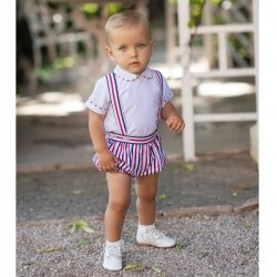 Dolce Petit Baby Boys White Shirt Multi Colours Braces Shorts Set