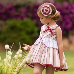 Dolce Petit Girls Caramel White Stripes Dress Red Bow