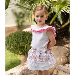 Dolce Petit Girls White Top Frilly Collar Floral Ruffle Skirt Set