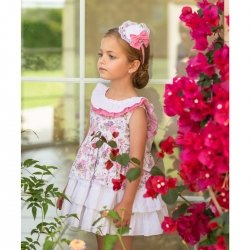 Dolce Petit Girls White Floral Ruffle Dress White Bow