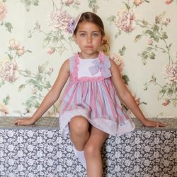 2c6510d5a Dolce Petit Girls Blue Pink Stripes Dress Large Bow