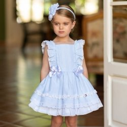 Dolce Petit Girls Blue Dress Large Frilly Sleeves White Bows
