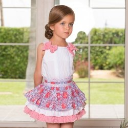 69c727d74 Dolce Petit Girls White Top Red Stripes Bows Floral Ruffle Skirt Set