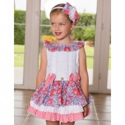Dolce Petit Girls White Red Floral Ruffle Dress
