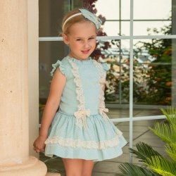 Dolce Petit Girls Aqua Green Blue Dress Ivory Lace
