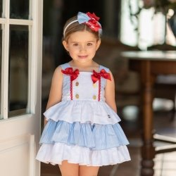 Dolce Petit Girls White Blue Ruffle Dress Red Bows
