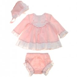 Dolce Petit Baby Girls Pink Small Polka Dots Dress White Lace Panties Bonnet Set