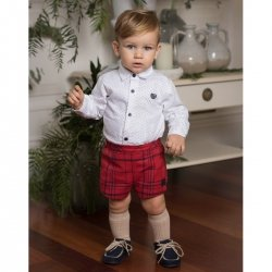 Dolce Petit Baby Boys White Shirt Red Check Shorts Set