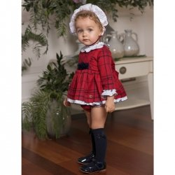 Dolce Petit Baby Girls Red White Navy Check Dress Panty Bonnet Set