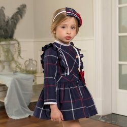 Dolce Petit Autumn Winter Girls Navy Check Dress White Frills Red Bow