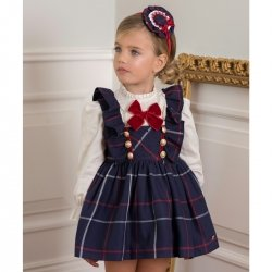 Dolce Petit Autumn Winter Girls Ivory Blouse Navy Check Pinafore Dress