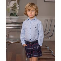 Dolce Petit Boys Blue Shirt Navy Check Shorts With Belt Outfit