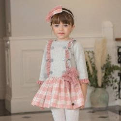Dolce Petit Autumn Winter Girls Grey Pink Check Dress