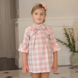Dolce Petit Autumn Winter Girls Pink Check Dress Pink Bow