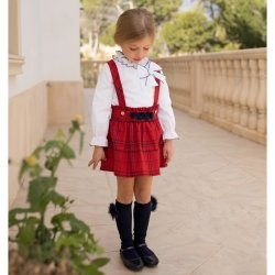 Dolce Petit Autumn Winter Girls White Blouse Red Check Braces Skirt Outfit