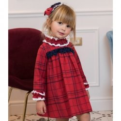 Dolce Petit Autumn Winter Girls Red Check Dress Frilly Collar Cuffs
