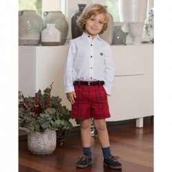 Dolce Petit Boys White Shirt Red Navy Check Shorts With Belt Outfit