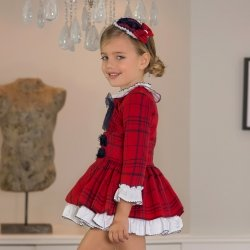 Dolce Petit Autumn Winter Girls Red Check Dress Frilly White Collar Navy Bow