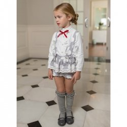 Dolce Petit Autumn Winter Girls White Blouse Grey Braces Shorts Set