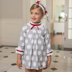 Dolce Petit Autumn Winter Girls White Grey Polka Dots Dress Red Bow