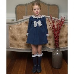 Dolce Petit Autumn Winter Girls Navy Dress Grey Collar Bow
