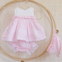 Dolce Petit Spring Summer Baby Girls White Top Pink Romper Shorts Set