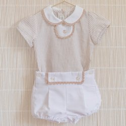 Dolce Petit Spring Summer Baby Boys White Caramel Stripes Top And Shorts Set
