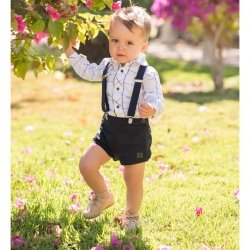Dolce Petit Baby Boys White Navy Check Shirt Navy Shorts And Navy Braces Set