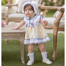 Dolce Petit Spring Summer Baby Girls White Lemon Dress Panty Bonnet Set