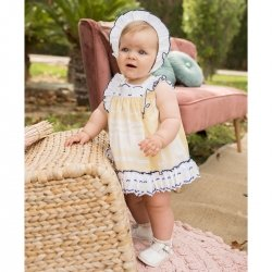 Dolce Petit Spring Summer Baby Girls Lemon Dress White Frills Navy Trim Panty Bonnet Set