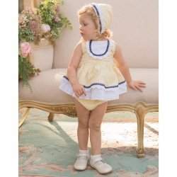 Dolce Petit Spring Summer Baby Girls Lemon White Dress Navy Lace Panty Bonnet Set