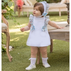 Dolce Petit Baby Girls White Dress Panty Blue Floral Frills Blue Bows