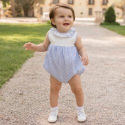 Dolce Petit Spring Summer Baby Girls Blue White Bubble Romper