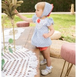 Dolce Petit Baby Girls Blue White Stripes Dress Panty White Lace Red Flower
