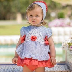 Dolce Petit Baby Girls Blue White Stripes Polka Dots Dress Panty Red Trim White Lace