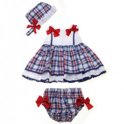 Dolce Petit Spring Summer Baby Girls White Blue Red Check Dress Bonnet Panties Set