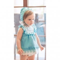 Dolce Petit Baby Girls Aqua Blue White Lace And Stripes Dress Panties Bonnet Set