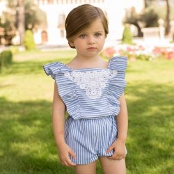 Dolce Petit Spring Summer Girls Navy White Stripes Playsuit