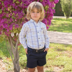 Dolce Petit Boys White Check Shirt Navy Shorts Set With Belt