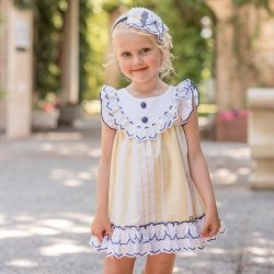 Dolce Petit Spring Summer Girls White Lemon Dress Navy Trim