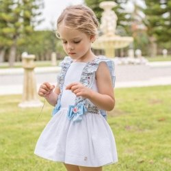 Dolce Petit Spring Summer Girls White Dress Blue Floral Frills Blue Bows
