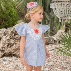Dolce Petit Spring Summer Girls White Blue Stripes Dress White Appliques Red Flower