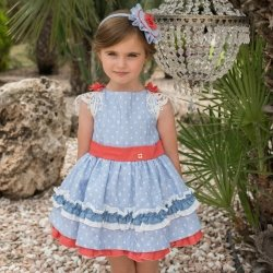 Dolce Petit Spring Summer Girls White Blue Stripes Dress Red Trim Blue Frills