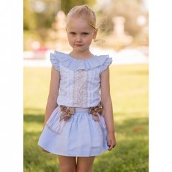 Dolce Petit Spring Summer Girls White Blue Top Caramel Lace Blue Skirt Caramel Bows