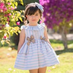 Dolce Petit Spring Summer Girls White Blue Pink Stripes Dress Caramel Lace Caramel Bows