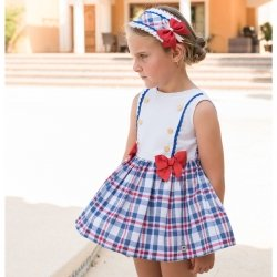 Dolce Petit Spring Summer Girls White Blue Red Check Dress Blue Lace Gold Buttons
