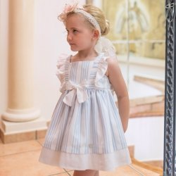 Dolce Petit Spring Summer Girls White Blue Stripes Dress White Bow